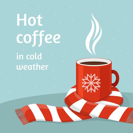 Illustration pour Hot coffee in red cup. - image libre de droit