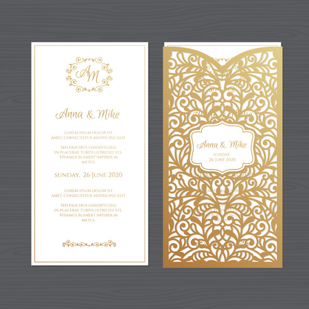 Illustration for Luxury wedding invitation or greeting card with vintage floral ornament. Paper lace envelope template. Wedding invitation envelope mock-up for laser cutting. Vector illustration. - Royalty Free Image