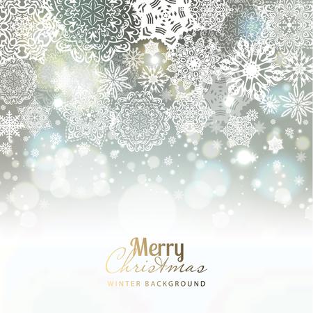 Ilustración de Snowflake background. Vector holiday backdrop. - Imagen libre de derechos