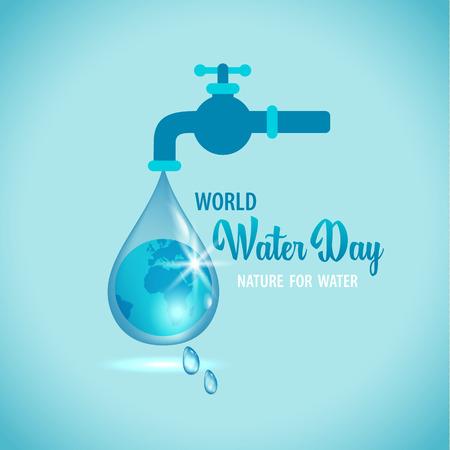 Ilustración de Vector illustration of water tap with the Earth globe inside water drop on blue background - Imagen libre de derechos