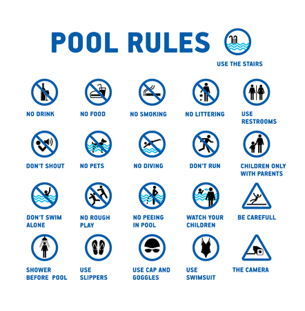 Ilustración de Swimming pool rules. Set of icons and symbol for pool. - Imagen libre de derechos