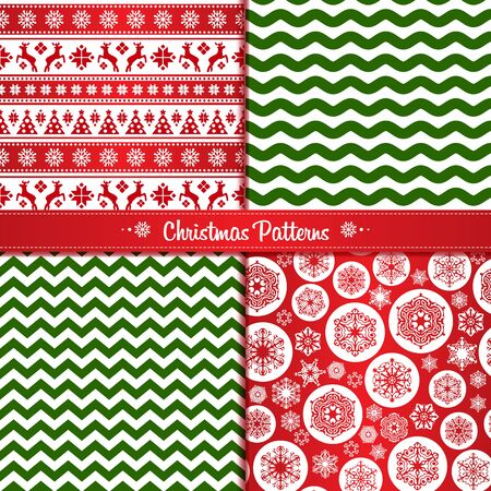 Ilustración de Set Christmas seamless patterns of red and green with reindeer and snowflakes - Imagen libre de derechos