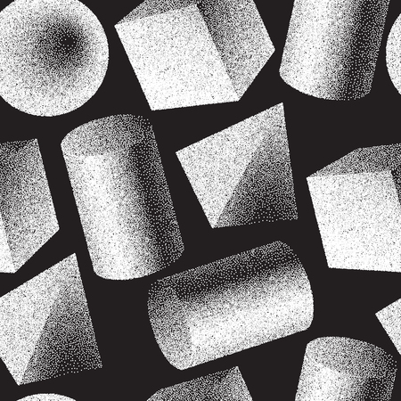 Illustration pour Geomertic abstract seamless pattern with black and white colors. - image libre de droit