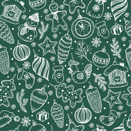 Illustration for Seamless pattern of christmas on black background. Hand drawn elements. - Royalty Free Image