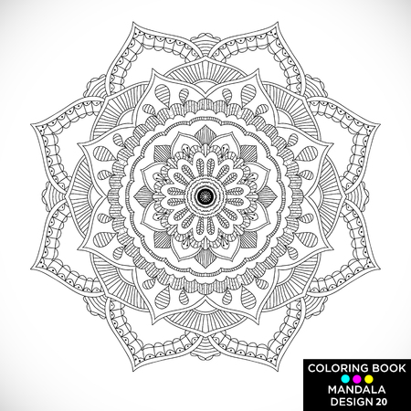 Illustration pour Mandala. Round floral ornament isolated on white background. Decorative design element. Black and white outline vector illustration for coloring book, print on T-shirt and other items. - image libre de droit