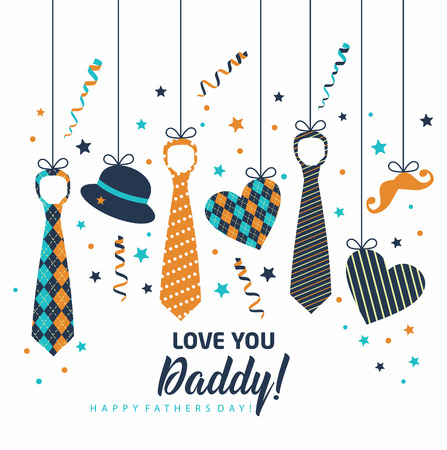 Illustration pour Happy Father s Day, holiday card with ties and accessories - image libre de droit