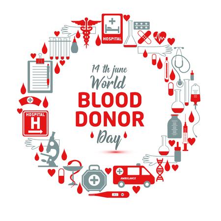 Ilustración de Vector illustration of Donate blood concept for World blood donor day-June 14. - Imagen libre de derechos