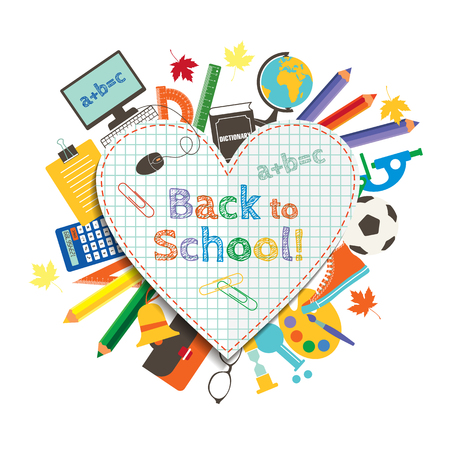 Illustration for Back to school poster, education background. Back to school inscription on the background of school items and icons - Royalty Free Image