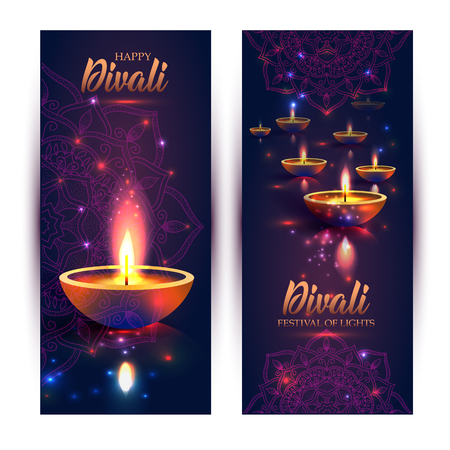 Illustration pour Happy Diwali festival of lights. Retro oil lamp on background night sky, Illustration in vector format. Banners vertical format. - image libre de droit