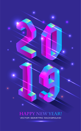 Ilustración de New Year 2019 in Isometric style. Vector isometric banner of number 2019 in brught gradient with greeting inscription of Happy New Year. - Imagen libre de derechos