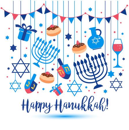 Illustration pour Jewish holiday Hanukkah greeting card traditional Chanukah symbols - image libre de droit