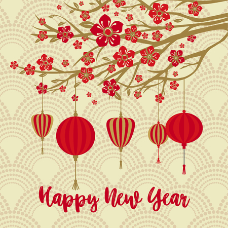 Illustration pour Chinese New Year Background. Red Blooming Sakura Branches on Gold Backdrop. - image libre de droit