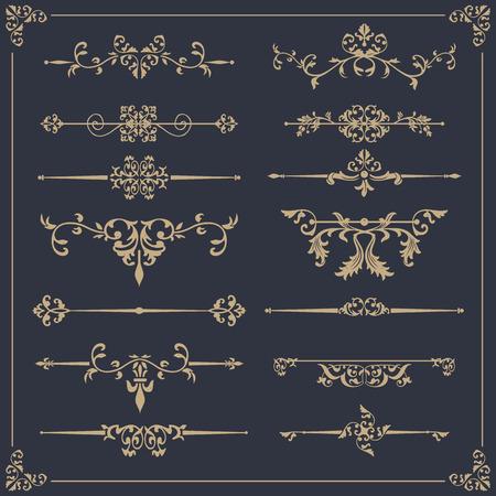 Ilustración de Vintage vector Set. Floral elements for design of monograms, invitations, frames, menus, labels and websites. - Imagen libre de derechos