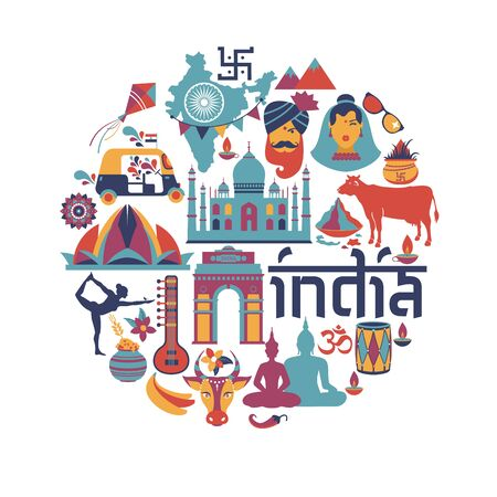 Illustration pour India set Asia country vector Indian architecture Asian traditions Buddhism travel isolated icons and symbols in circle. - image libre de droit
