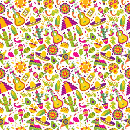 Illustration for Seamless vector pattern with mexican elements - guitar, sombrero, tequila, taco, skull on white. Perfect artistic background for your design. - Royalty Free Image