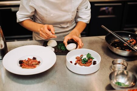 Photo pour Michelin chef serving food for guests in the kitchen, french cuisine, close up, crop on hands - image libre de droit