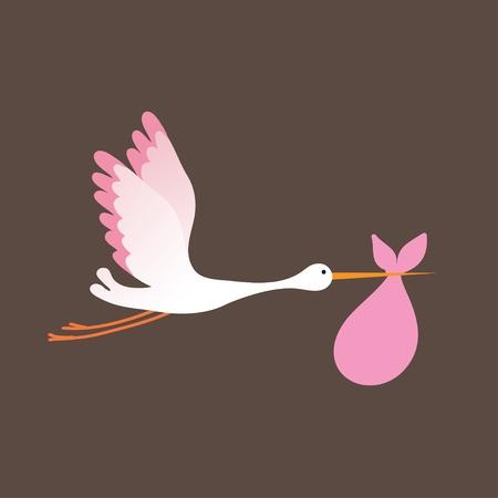 Photo pour A cartoon illustration of a stork delivering a newborn baby girl - image libre de droit
