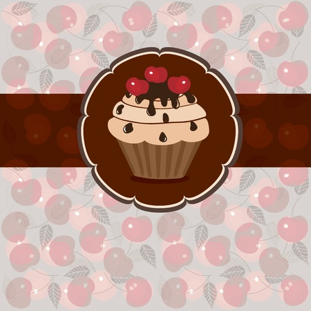 Sweet pastry on a light background of hearts and flowers, vector