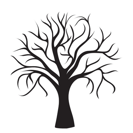 black tree without leaves on white background, vector image