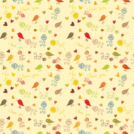 floral bird and hearts  seamless wallpaper pattern