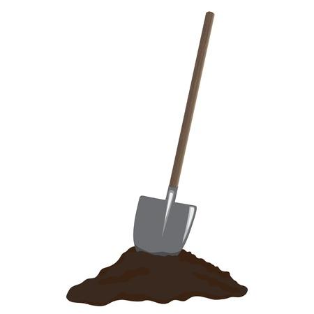 Shovel in heap of dirt, vector image