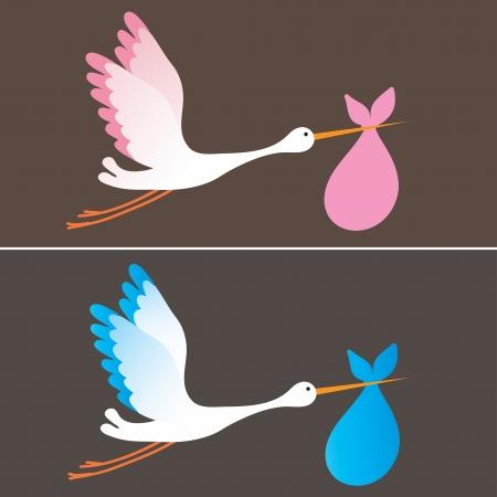 Foto de A cartoon illustration of a stork delivering a newborn baby girl and boy - Imagen libre de derechos