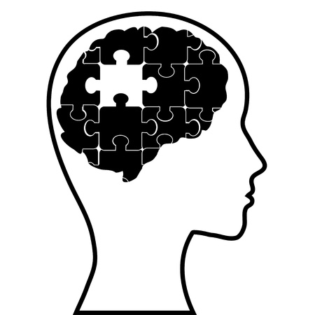 Puzzle brain and silhouette head, vector image