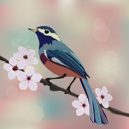 Card design, bird and flower