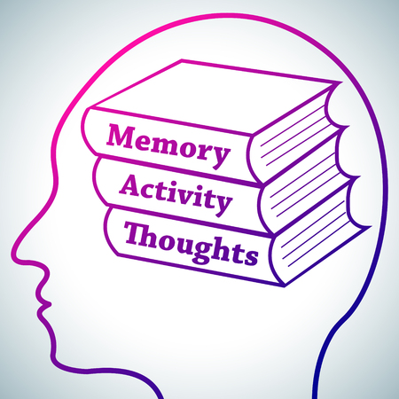 Human Head Logo Silhouette,Brain Studying Conception.Books in brain named Memory,Activity,Thoughts symbolizing Personal development,Brain Learn on white luminous background.Human psychology concept