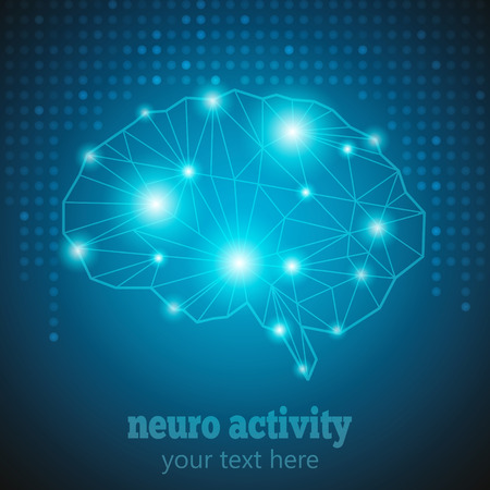 Illustration pour Abstract Human Brain Medical Logo,Neurology Anatomical Conception.Cerebral Geometric Brain and Cerebellum on blue dotted background w text Neuro Activity.Brain Thought lights shines as Brain works - image libre de droit
