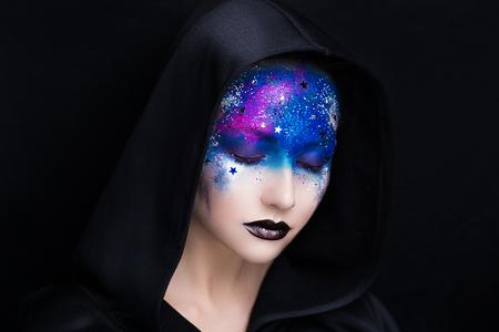 Creative Make Up New Conceptual Idea Black Blue Bold Body
