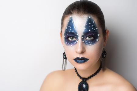 Creative Make Up New Conceptual Idea Black Blue White Bold