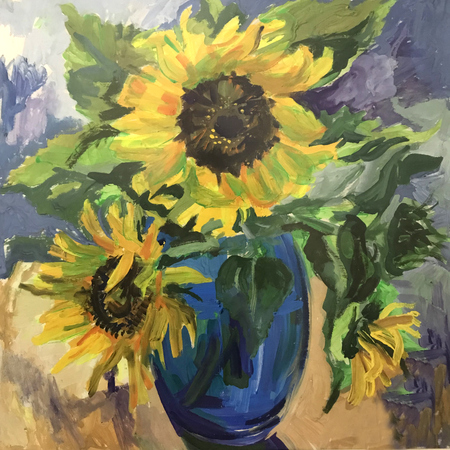 Photo pour Drawing of sunflowers in a blue vase. Picture contains an interesting idea, evokes emotions, aesthetic pleasure. Canvas stretched on a stretcher, oil natural paints. Concept art painting texture - image libre de droit