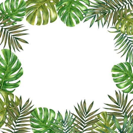 Photo pour Square frame made wih watercolor tropical leaves. - image libre de droit