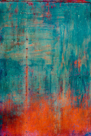 Photo pour Rusty Colored Metal with cracked paint, grunge background, Blue and Orange - image libre de droit