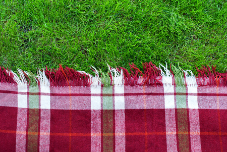 Photo for Checkered Plaid Picnic Green Grass Summer Time Background - Royalty Free Image