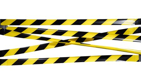Photo for Do Not Cross criminal area from yellow and black warning police strip line isolated on white background. Caution lines. Danger and risk tape. Industrial protection sticky tape. Set small signs - Royalty Free Image