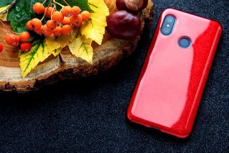 Foto de Smartphone red on an autumn background with leaves. - Imagen libre de derechos