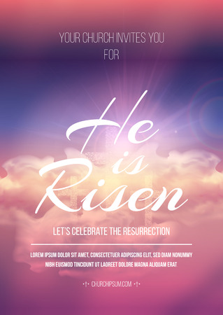 Easter religious poster template with transparency and gradient mesh.