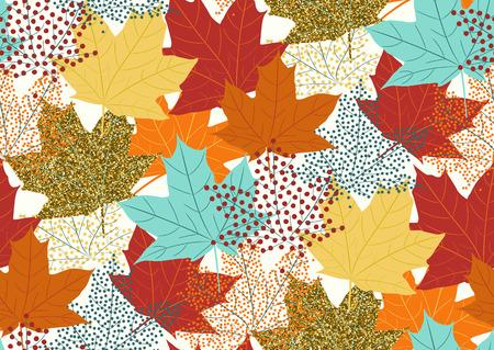 Maple leaves seamless pattern, flat design template, vector illustration