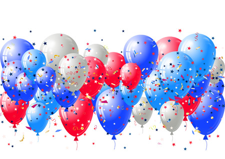 Abstract background with scattered confetti and balloons. Blank festive holiday card template for Independence day, Patriot Day, Memorial day, Veterans day, Presidents day.