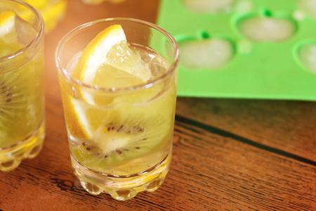 Fresh kiwi smoothie in glass. Summer cocktail.