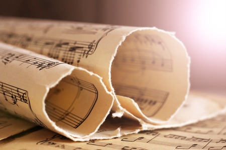 Photo pour Written Music Notation Sheet In Sepia notes - image libre de droit