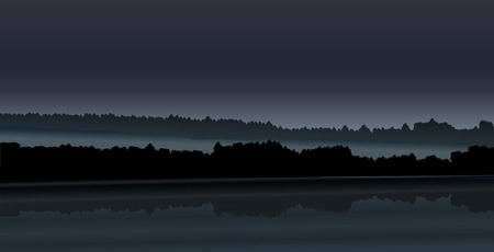 Illustration pour Vector landscape - night forest and river with haze. Simple illustration - dark silhouettes of trees and hills. For backdrops, banners, covers. - image libre de droit