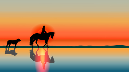 Illustration pour Romantic equestrian background horse rider and big dog silhouettes at sunset on the beach with reflections in the water. Summer vector landscape. Horse riding theme. - image libre de droit