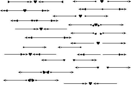 Illustration pour Decorative element, delimiter, text breaks wih heart - image libre de droit