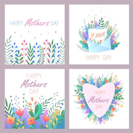 Illustration for Mother's Day.Set of greeting cards. Vector illustration with flowers, hearts,letter and beautiful text. For postcards, stickers, banners. For your happy holiday. On an isolated white background. - Royalty Free Image