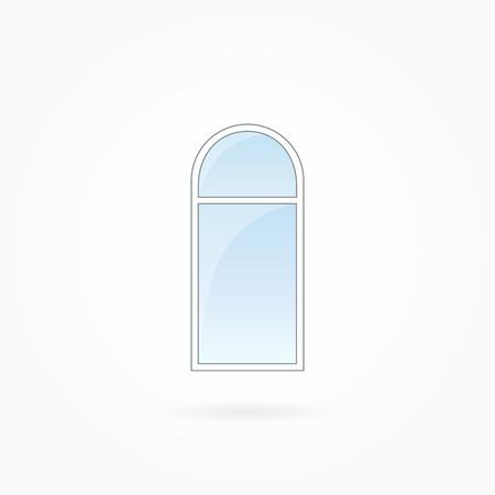 Window frame vector illustration, single closed modern window with arched valve. White plastic window with blue sky glass, outdoor objects collection, flat style. Isolated design element. Eps 10.