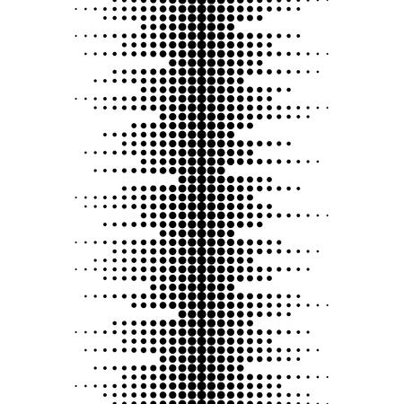 Ilustración de Vector monochrome seamless pattern. Dynamic visual effect, background with different sized dots. Black & white. Illustration of sound waves. Geometric texture for prints, digital, cover, decor, web - Imagen libre de derechos