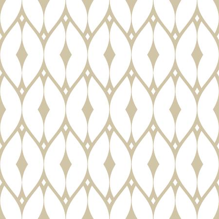 Illustration pour Vector golden mesh seamless pattern. Subtle geometric repeat ornament texture with thin curved lines, delicate net, grid, lattice, lace, fence. White and beige luxury background. Art deco style design - image libre de droit